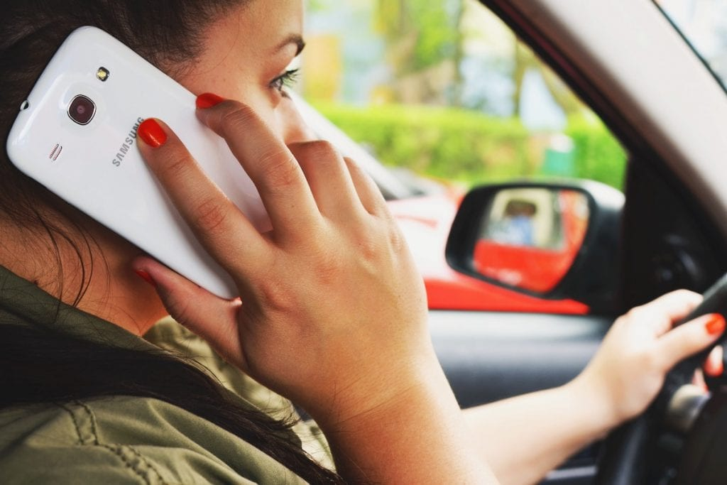 Distracted driving on cellphone